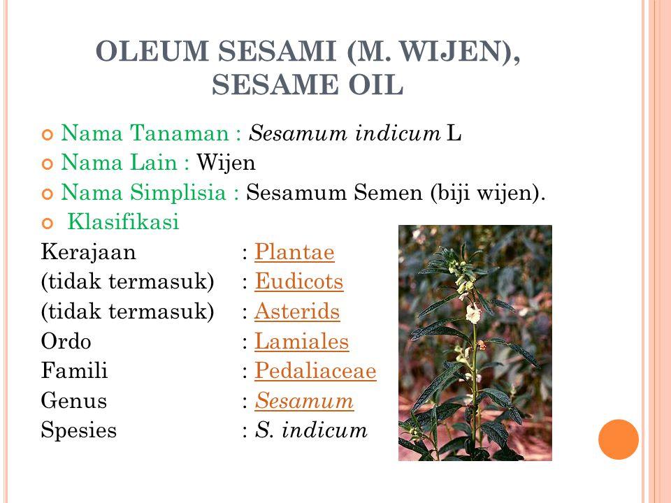 OLEUM SESAMI (M. WIJEN), SESAME OIL