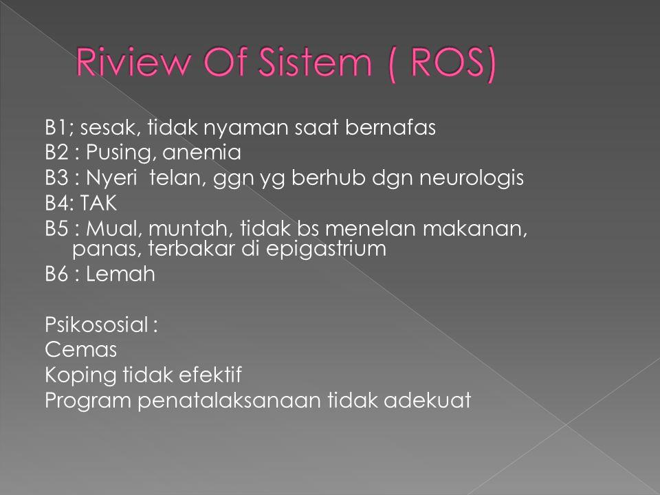 Riview Of Sistem ( ROS) B1; sesak, tidak nyaman saat bernafas