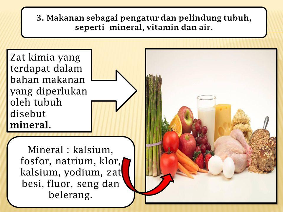 3. Makanan sebagai pengatur dan pelindung tubuh, seperti mineral, vitamin dan air.
