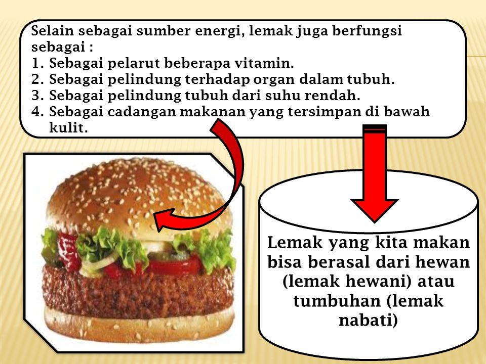 Selain sebagai sumber energi, lemak juga berfungsi sebagai :