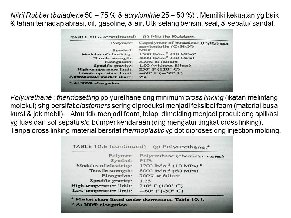 Nitril Rubber (butadiene 50 – 75 % & acrylonitrile 25 – 50 %) : Memiliki kekuatan yg baik & tahan terhadap abrasi, oil, gasoline, & air.