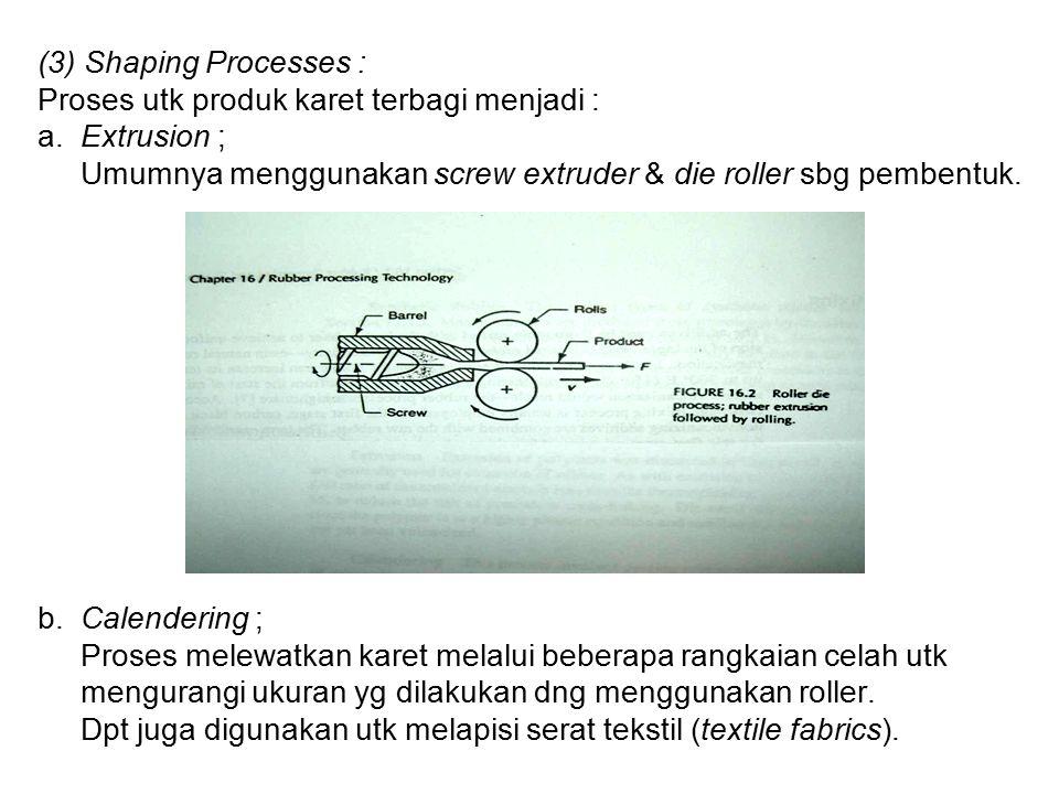 (3) Shaping Processes : Proses utk produk karet terbagi menjadi : a