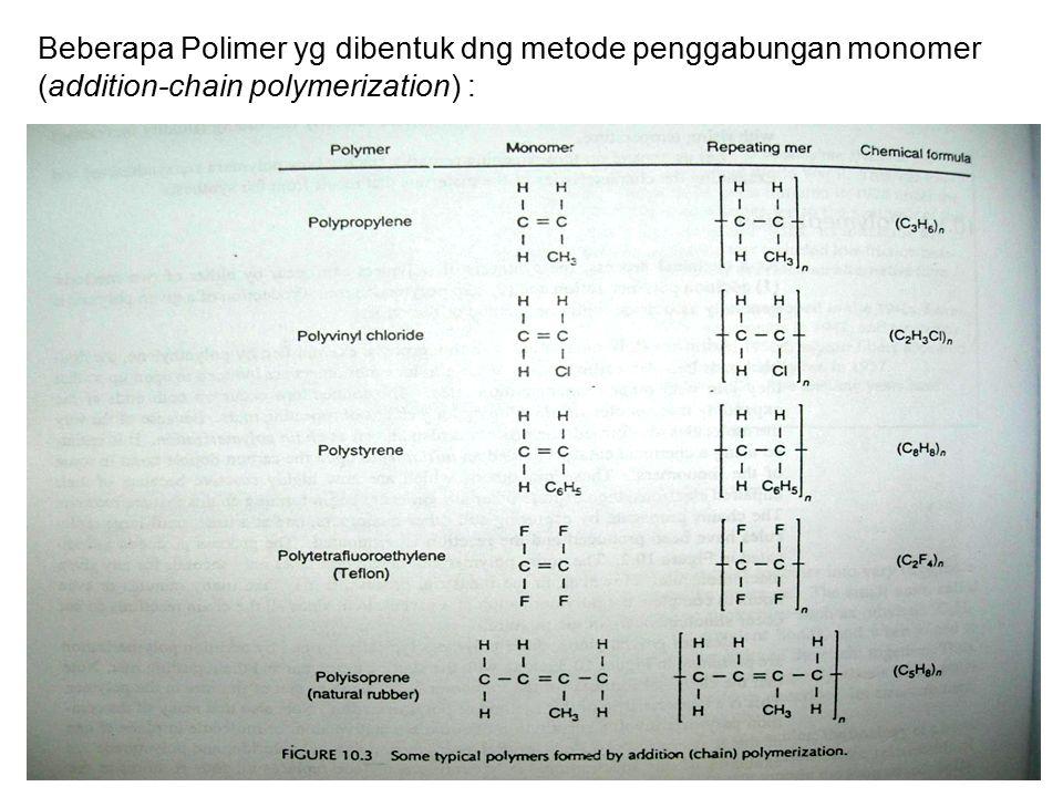 Beberapa Polimer yg dibentuk dng metode penggabungan monomer (addition-chain polymerization) :