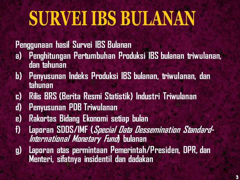 SURVEI IBS BULANAN Penggunaan hasil Survei IBS Bulanan