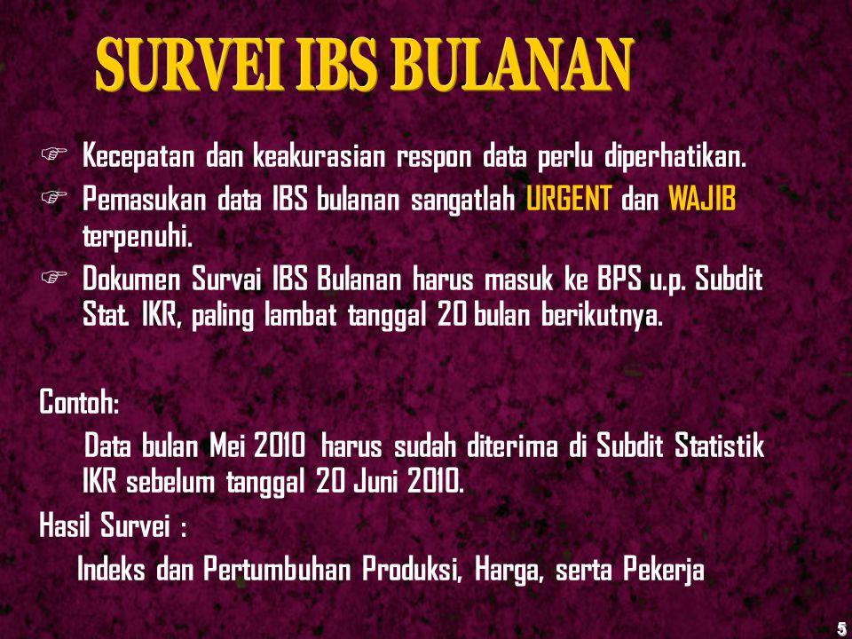 SURVEI IBS BULANAN Kecepatan dan keakurasian respon data perlu diperhatikan. Pemasukan data IBS bulanan sangatlah URGENT dan WAJIB terpenuhi.
