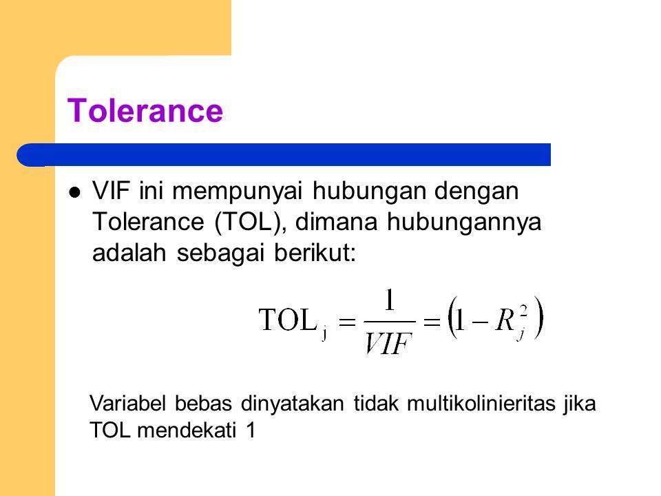 Tolerance VIF ini mempunyai hubungan dengan Tolerance (TOL), dimana hubungannya adalah sebagai berikut: