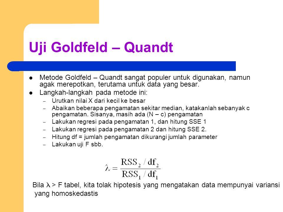 Uji Goldfeld – Quandt Metode Goldfeld – Quandt sangat populer untuk digunakan, namun agak merepotkan, terutama untuk data yang besar.
