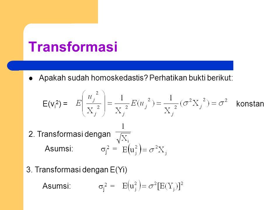 Transformasi Apakah sudah homoskedastis Perhatikan bukti berikut: