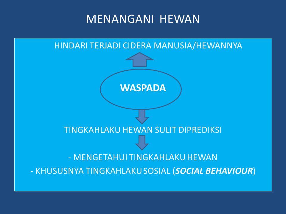 MENANGANI HEWAN WASPADA HINDARI TERJADI CIDERA MANUSIA/HEWANNYA