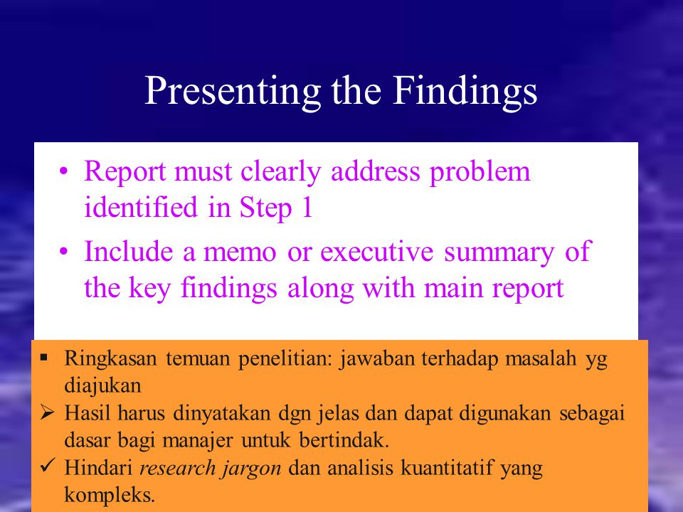 Presenting the Findings