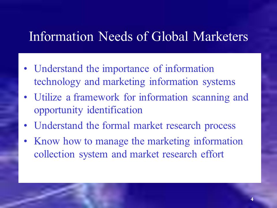 Information Needs of Global Marketers