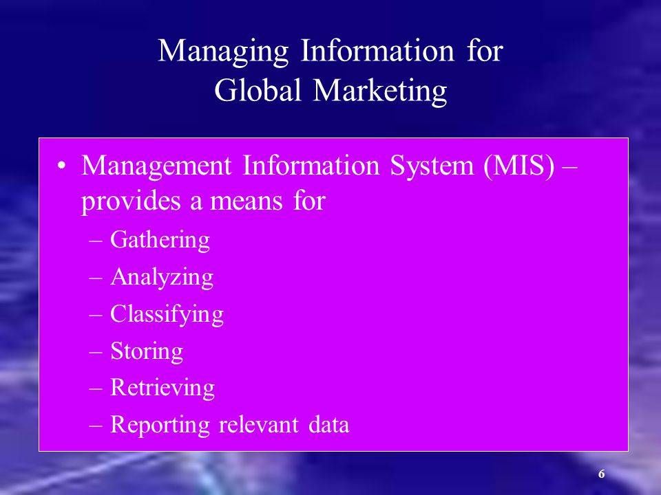 Managing Information for Global Marketing