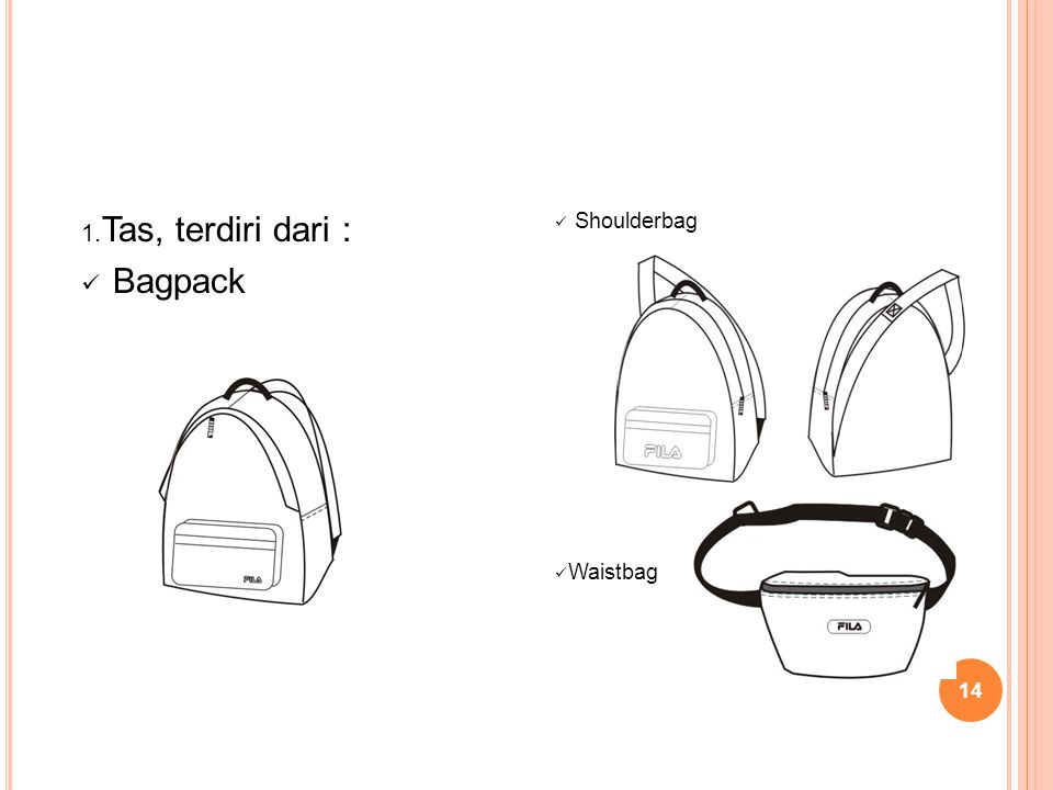 Tas, terdiri dari : Bagpack Shoulderbag Waistbag
