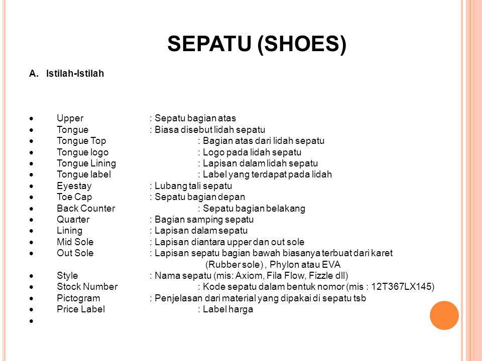 SEPATU (SHOES) A. Istilah-Istilah. · Upper : Sepatu bagian atas. · Tongue : Biasa disebut lidah sepatu.
