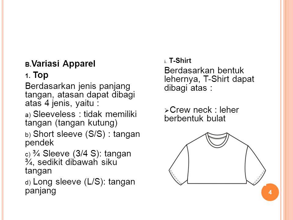 Berdasarkan bentuk lehernya, T-Shirt dapat dibagi atas :