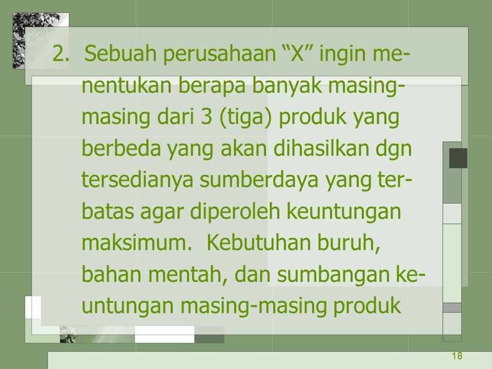 2. Sebuah perusahaan X ingin me-