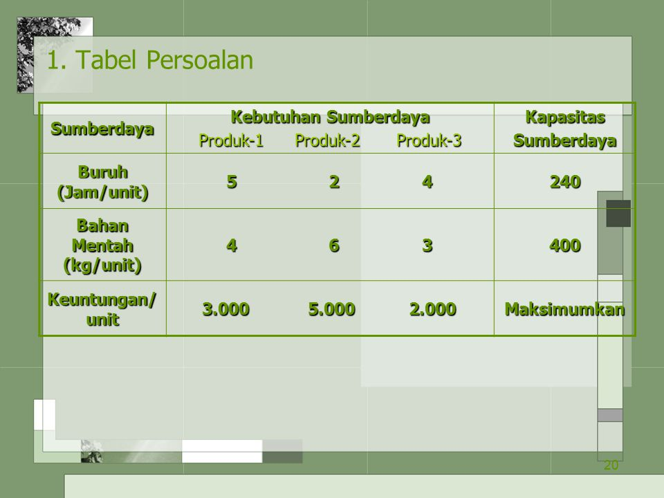 Bahan Mentah (kg/unit)