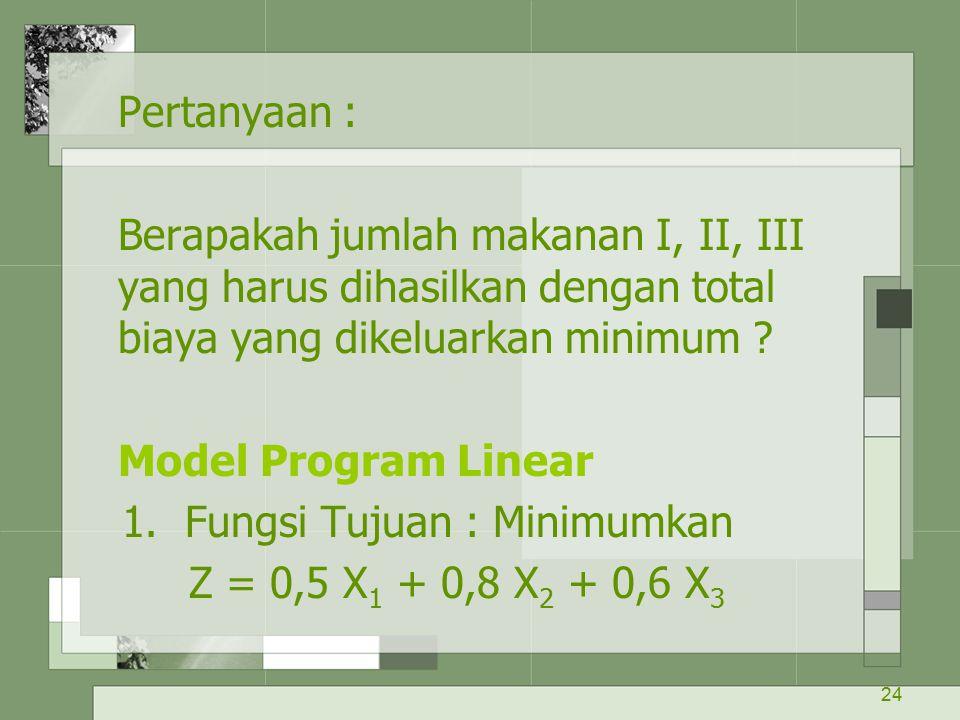 Pertanyaan : Berapakah jumlah makanan I, II, III yang harus dihasilkan dengan total biaya yang dikeluarkan minimum