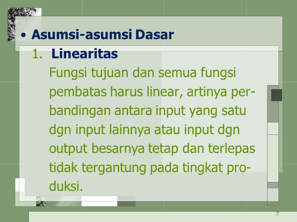Asumsi-asumsi Dasar 1. Linearitas. Fungsi tujuan dan semua fungsi. pembatas harus linear, artinya per-
