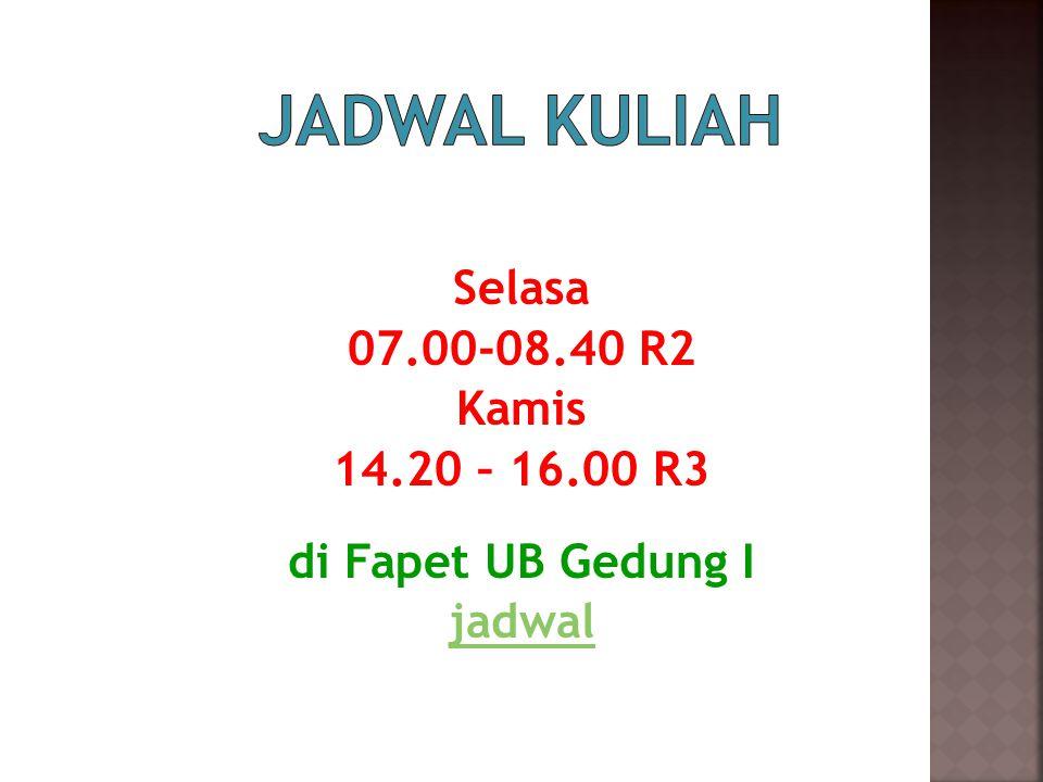 Jadwal Kuliah Selasa 07.00-08.40 R2 Kamis 14.20 – 16.00 R3 di Fapet UB Gedung I jadwal