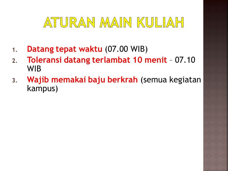 Aturan Main Kuliah Datang tepat waktu (07.00 WIB)