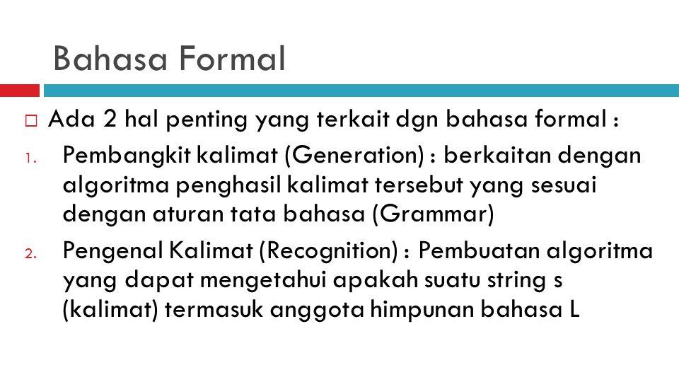 Bahasa Formal Ada 2 hal penting yang terkait dgn bahasa formal :