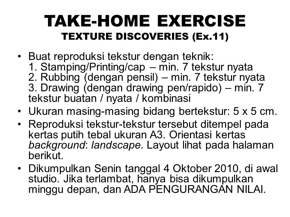 TAKE-HOME EXERCISE TEXTURE DISCOVERIES (Ex.11)