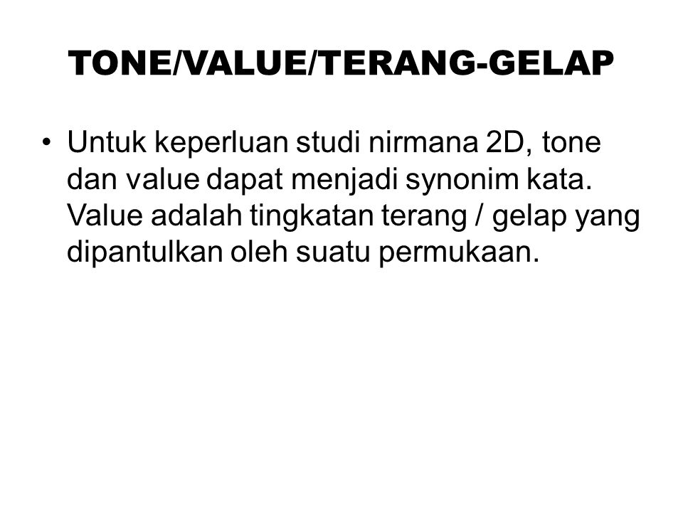 TONE/VALUE/TERANG-GELAP