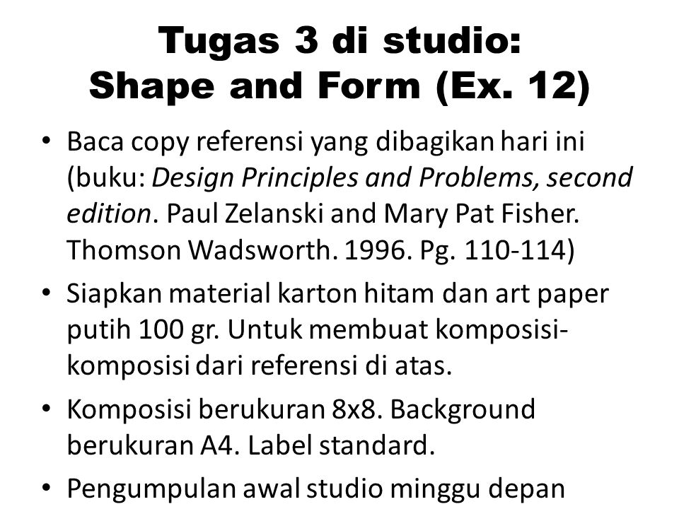 Tugas 3 di studio: Shape and Form (Ex. 12)