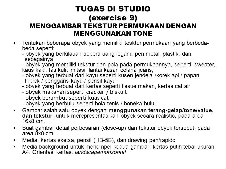 TUGAS DI STUDIO (exercise 9) MENGGAMBAR TEKSTUR PERMUKAAN DENGAN MENGGUNAKAN TONE