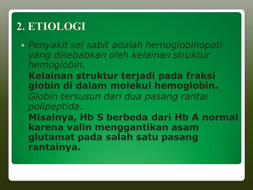 2. ETIOLOGI Penyakit sel sabit adalah hemoglobinopati yang disebabkan oleh kelainan struktur hemoglobin.