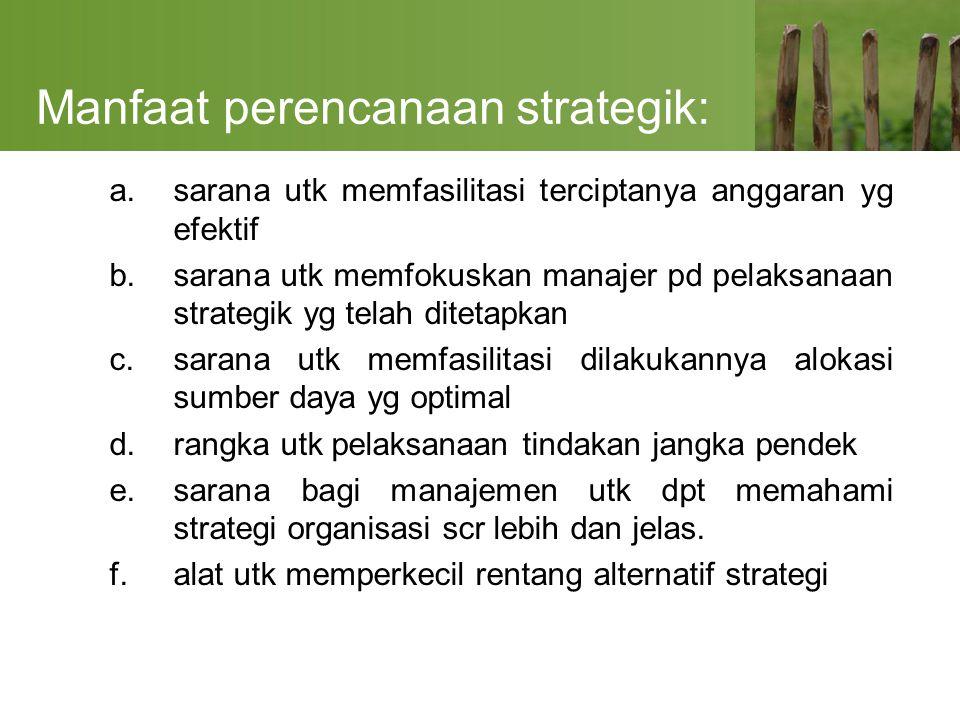 Manfaat perencanaan strategik: