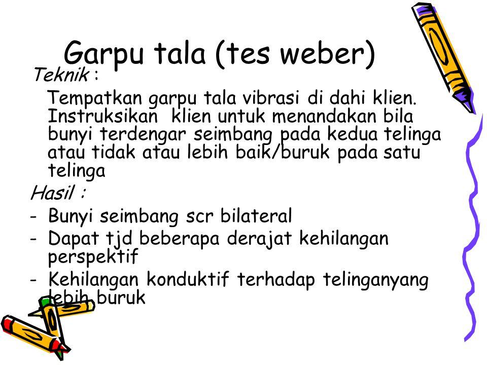 Garpu tala (tes weber) Teknik :