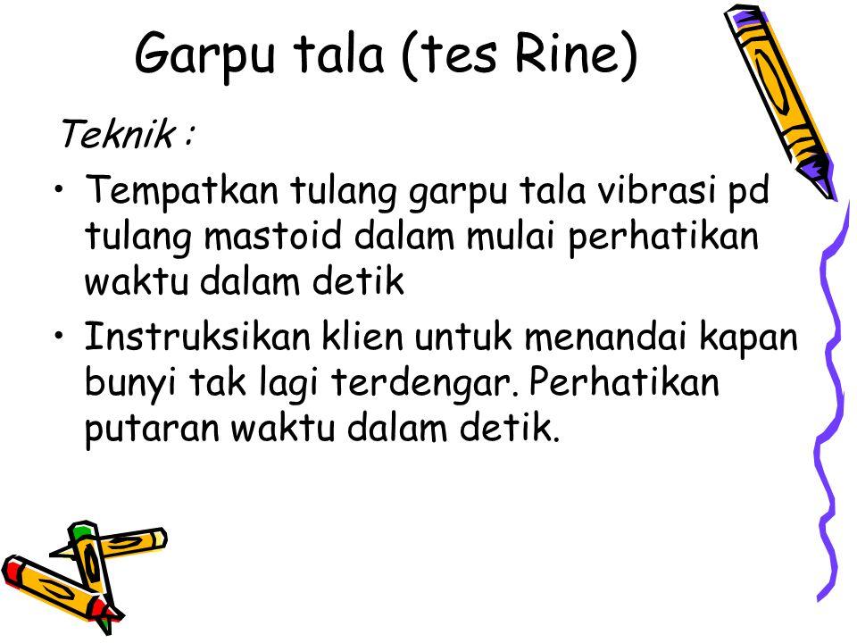 Garpu tala (tes Rine) Teknik :