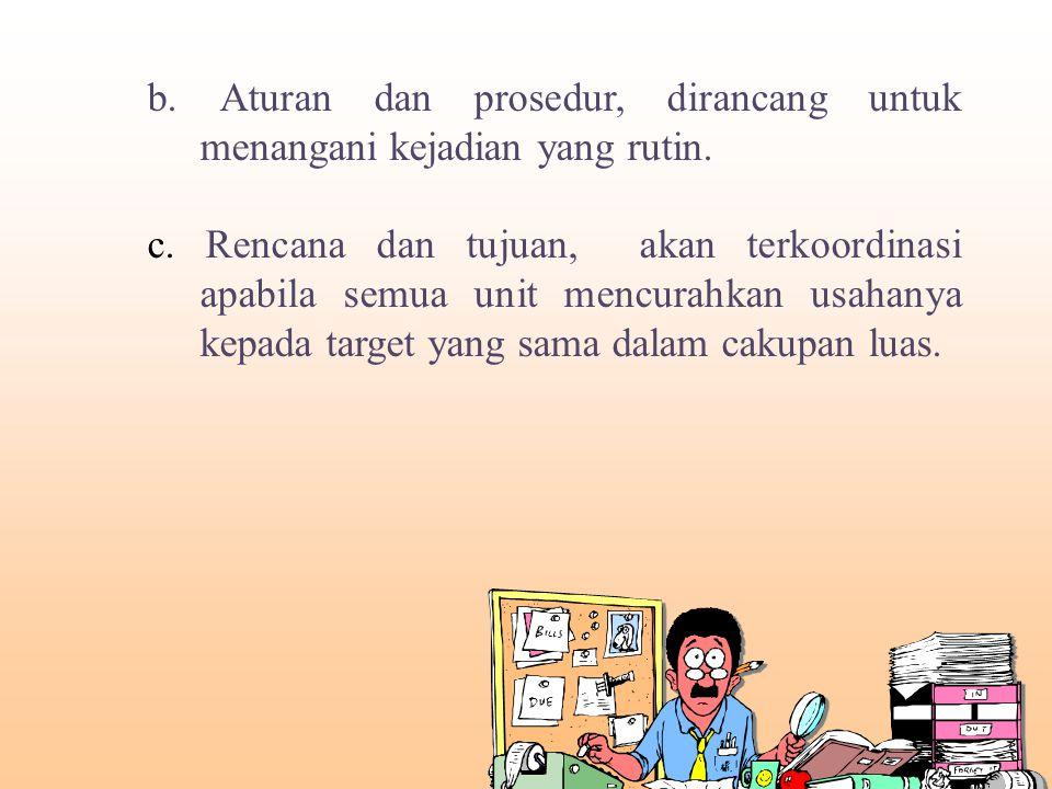 b. Aturan dan prosedur, dirancang untuk menangani kejadian yang rutin.