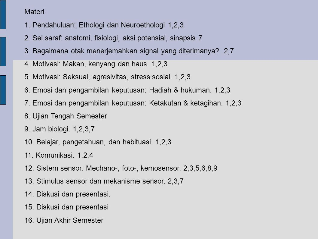 Materi 1. Pendahuluan: Ethologi dan Neuroethologi 1,2,3. 2. Sel saraf: anatomi, fisiologi, aksi potensial, sinapsis 7.
