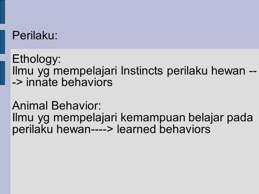 Perilaku: Ethology: Ilmu yg mempelajari Instincts perilaku hewan ---> innate behaviors. Animal Behavior: