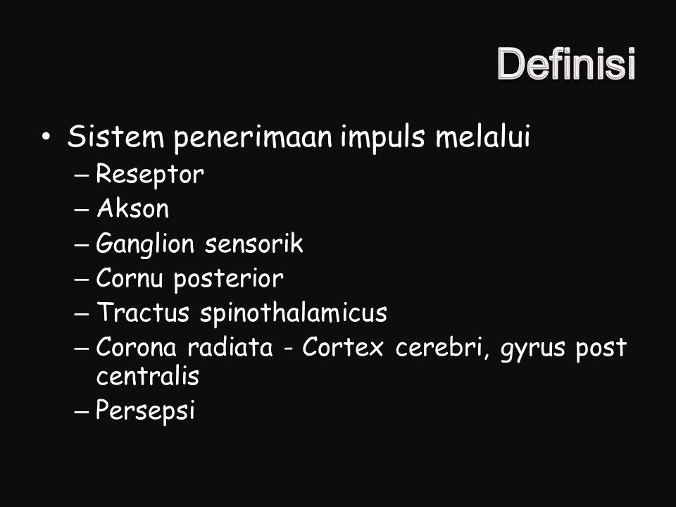 Definisi Sistem penerimaan impuls melalui Reseptor Akson