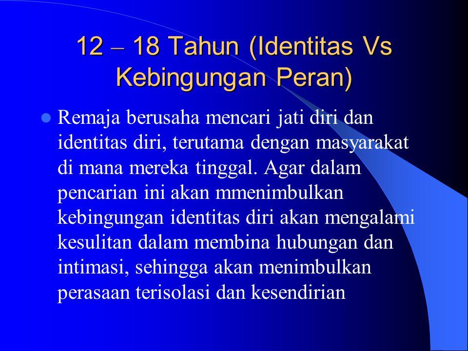 12 – 18 Tahun (Identitas Vs Kebingungan Peran)