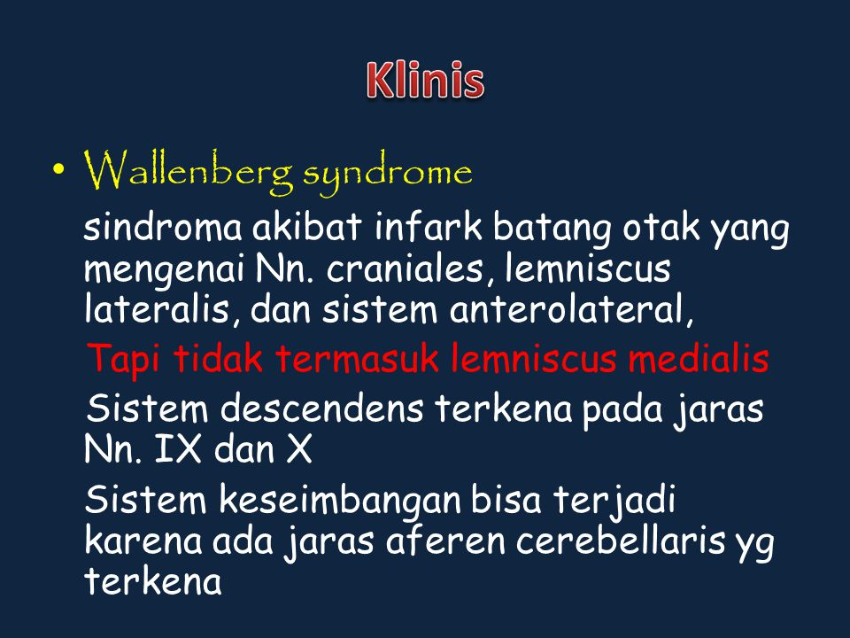 Klinis Wallenberg syndrome