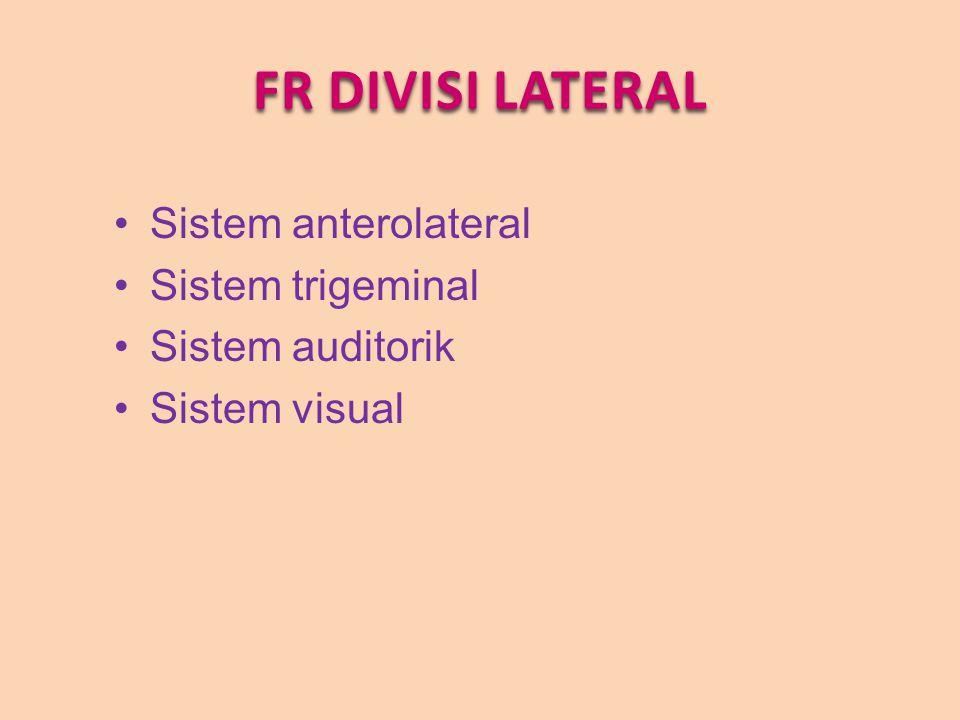 FR DIVISI LATERAL Sistem anterolateral Sistem trigeminal