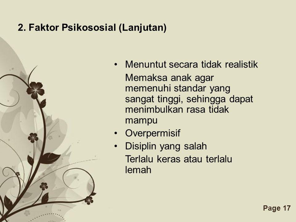 2. Faktor Psikososial (Lanjutan)