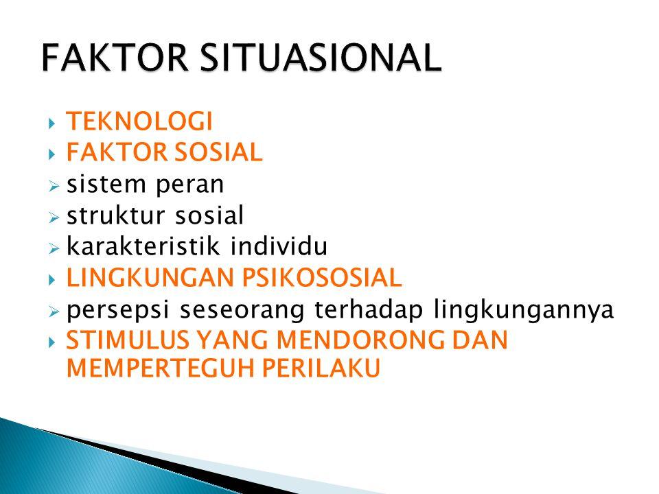 FAKTOR SITUASIONAL TEKNOLOGI FAKTOR SOSIAL sistem peran