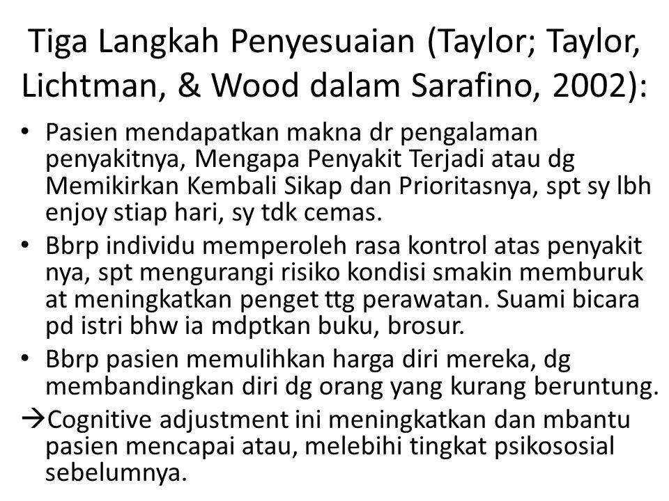 Tiga Langkah Penyesuaian (Taylor; Taylor, Lichtman, & Wood dalam Sarafino, 2002):