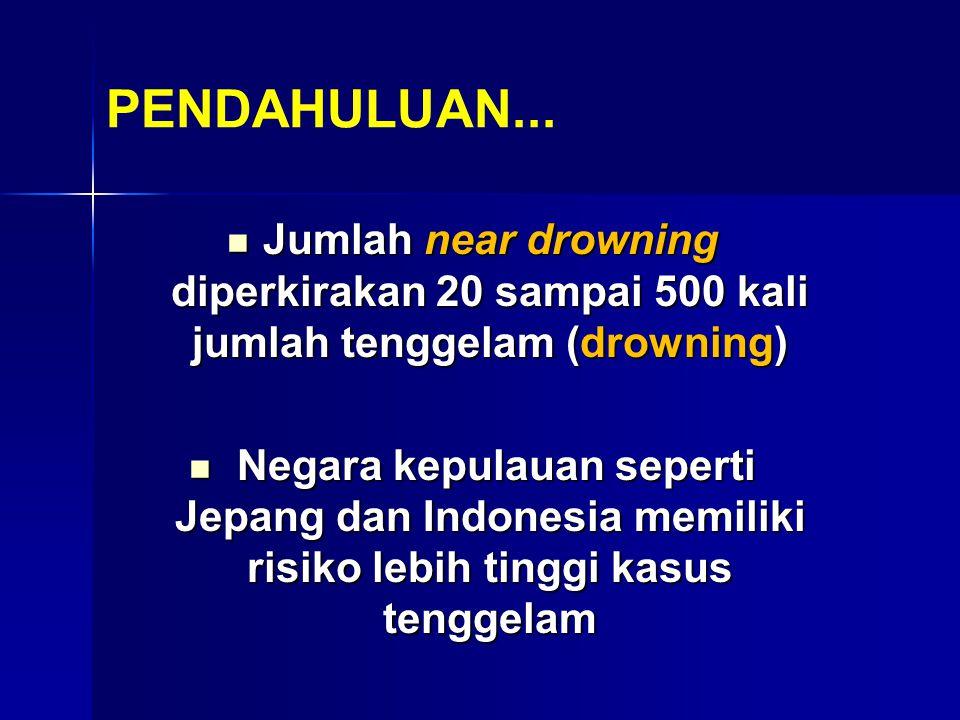 PENDAHULUAN... Jumlah near drowning diperkirakan 20 sampai 500 kali jumlah tenggelam (drowning)