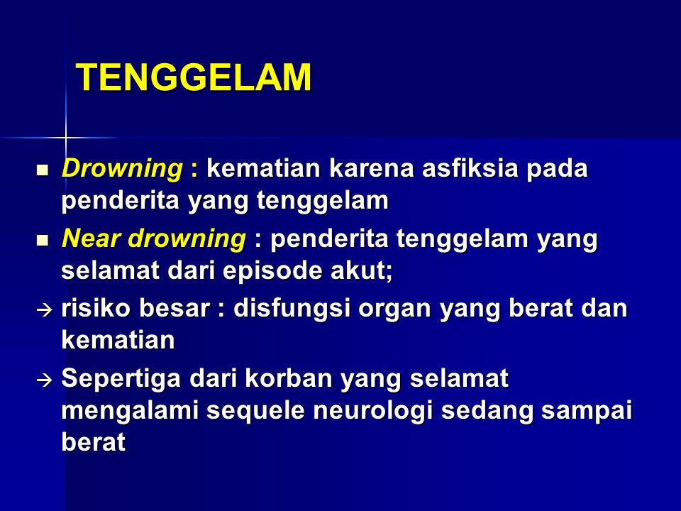TENGGELAM Drowning : kematian karena asfiksia pada penderita yang tenggelam. Near drowning : penderita tenggelam yang selamat dari episode akut;