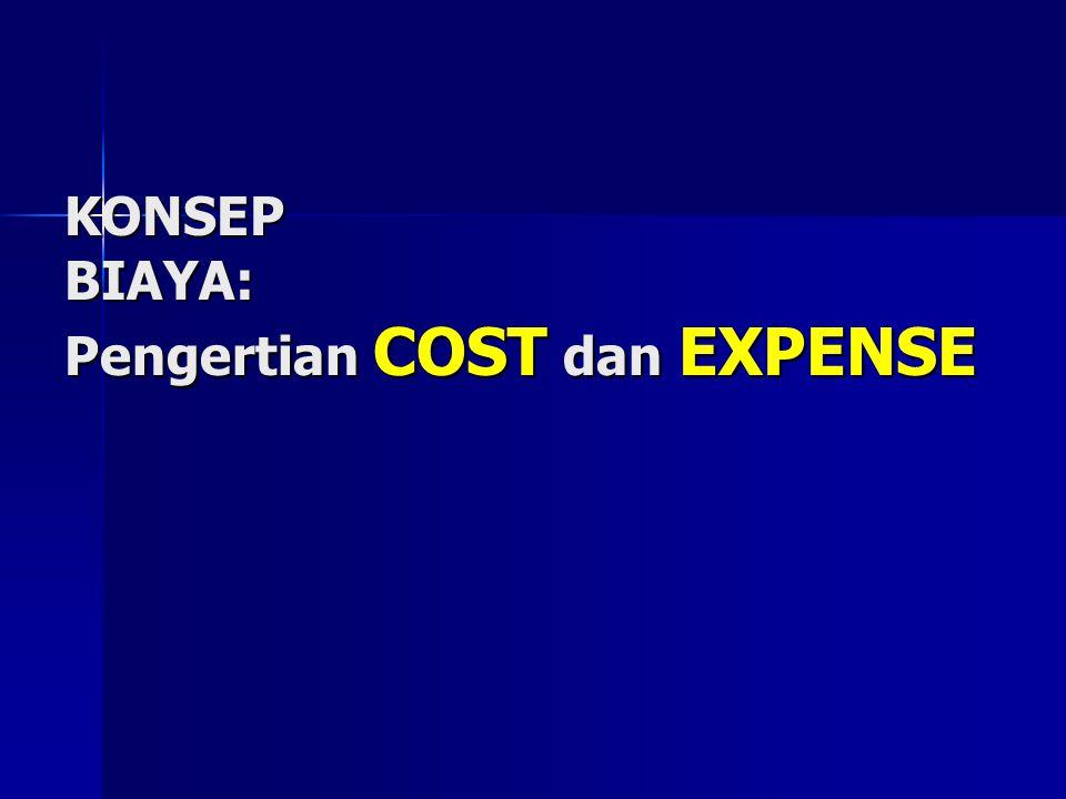 KONSEP BIAYA: Pengertian COST dan EXPENSE