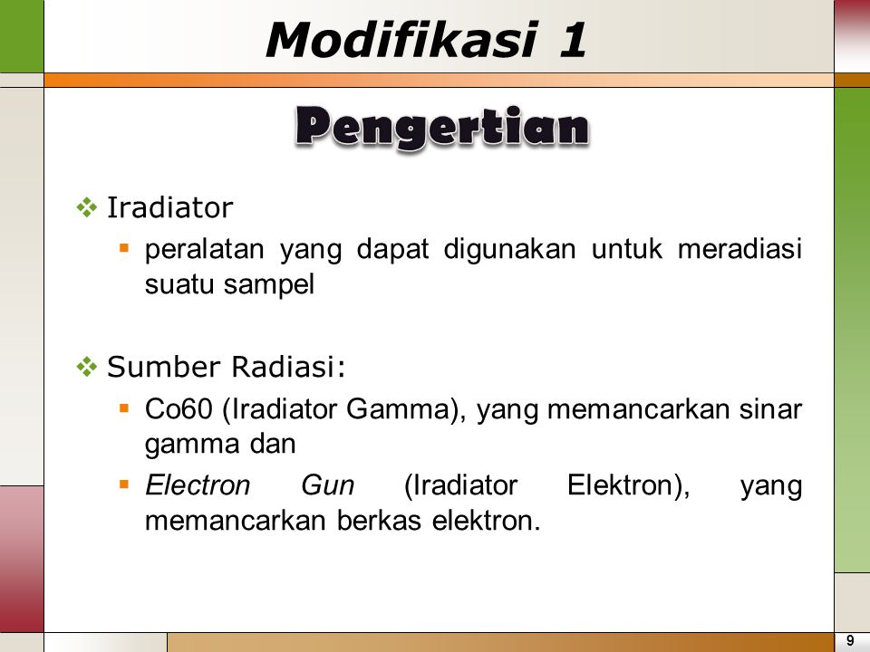 Pengertian Modifikasi 1 Iradiator