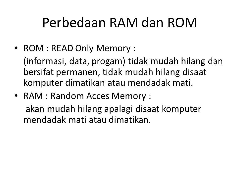 Perbedaan RAM dan ROM ROM : READ Only Memory :