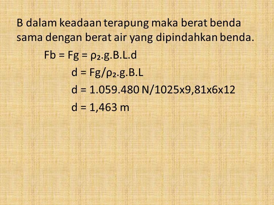 B dalam keadaan terapung maka berat benda sama dengan berat air yang dipindahkan benda.